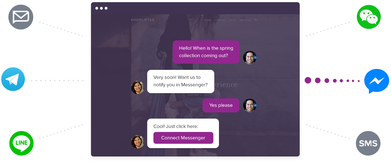 Let your website visitors talk to you from any messaging app